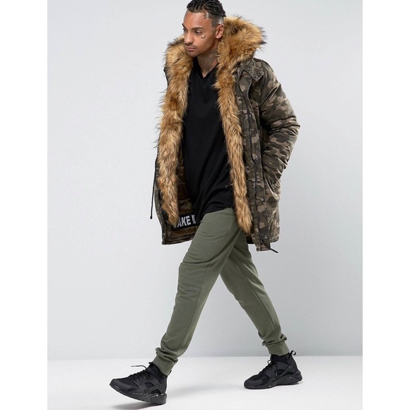 ASOS Sixth June Parka With Faux Fur Hood & Lining